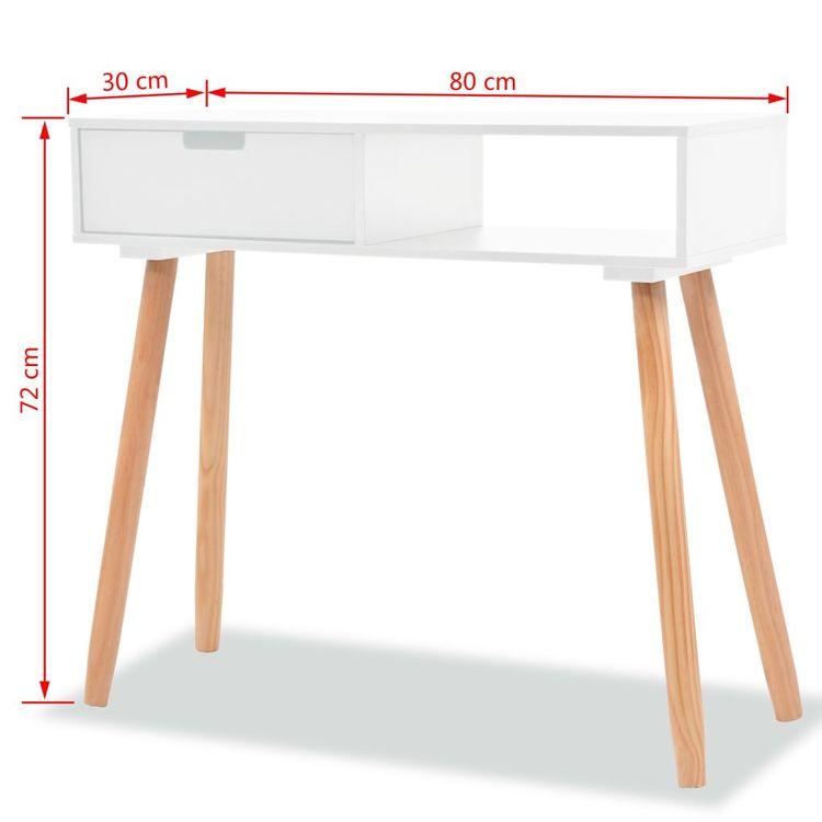 Konsolbord massiv furu 80x30x72 cm vit