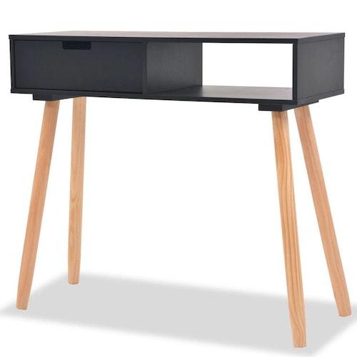 Konsolbord massiv furu 80x30x72 cm svart