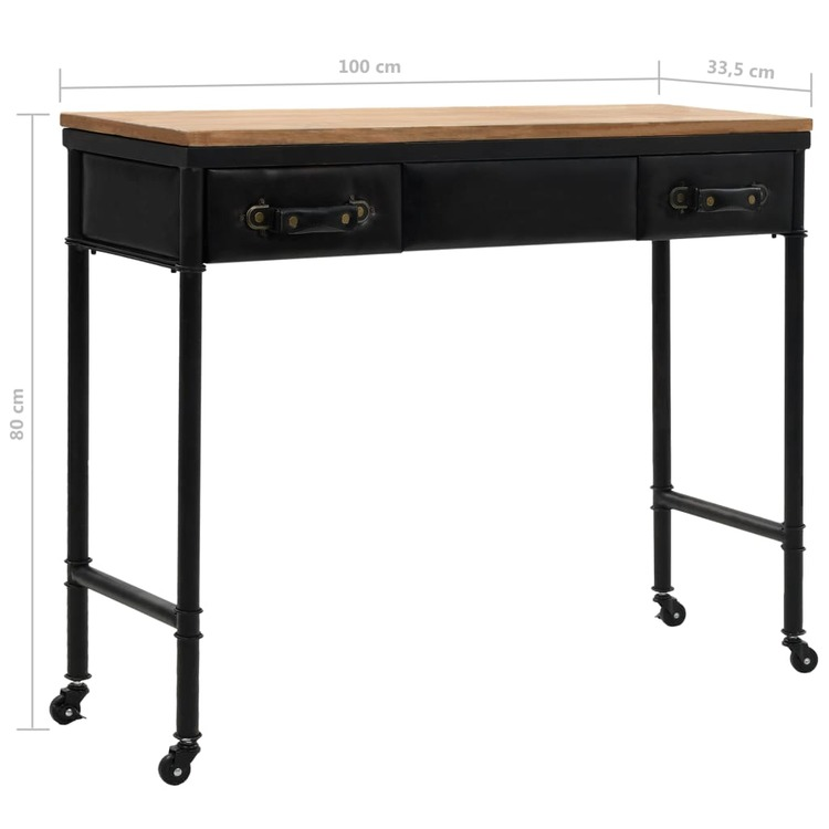 Konsolbord MDF och granträ 100x33,5x80 cm