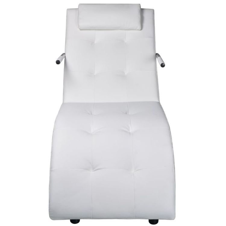 Schäslong med kudde vit konstläder