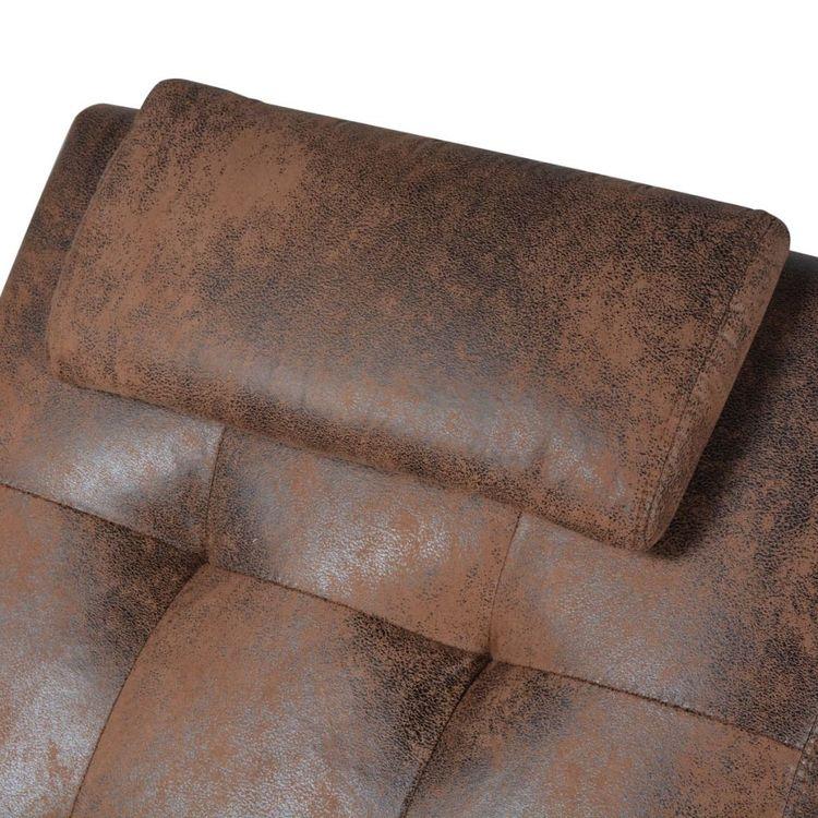 Schäslong med kudde brun mockaimitation