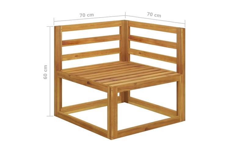 4-sitssoffa för trädgården med gräddvit dyna massivt akaciaträ