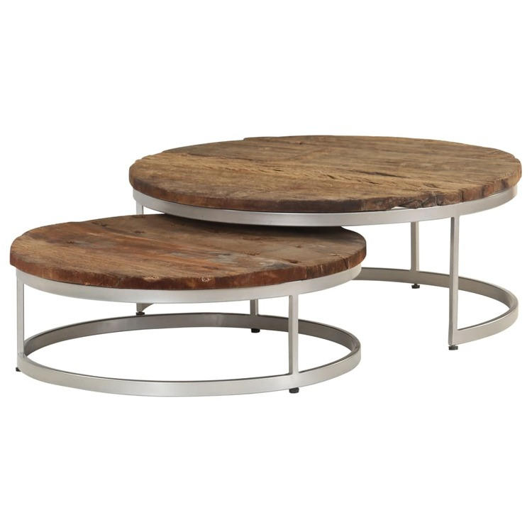 Soffbord set 2 st återvunnet trä och stål
