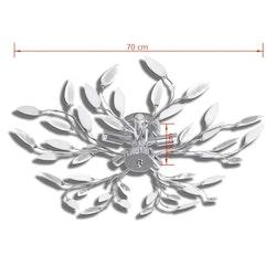 Taklampa 5-armad E14 med kristallöv vit/transparent