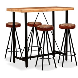 Barmöbler 5 delar massiv akacia, äkta läder & kanvas