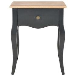 Sängbord svart och brun 40x30x50 cm massiv furu