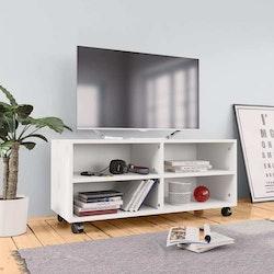 TV-bänk med hjul vit 90x35x35 cm spånskiva
