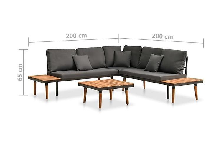 Loungegrupp för trädgården med dynor 4 delar massivt akaciaträ