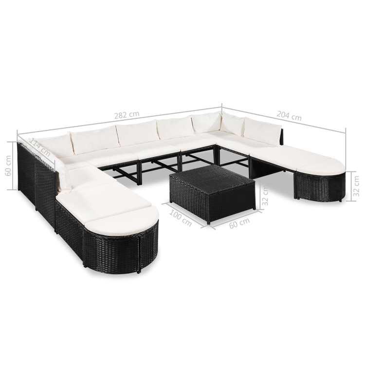 Loungegrupp m. dynor 12 delar konstrotting svart