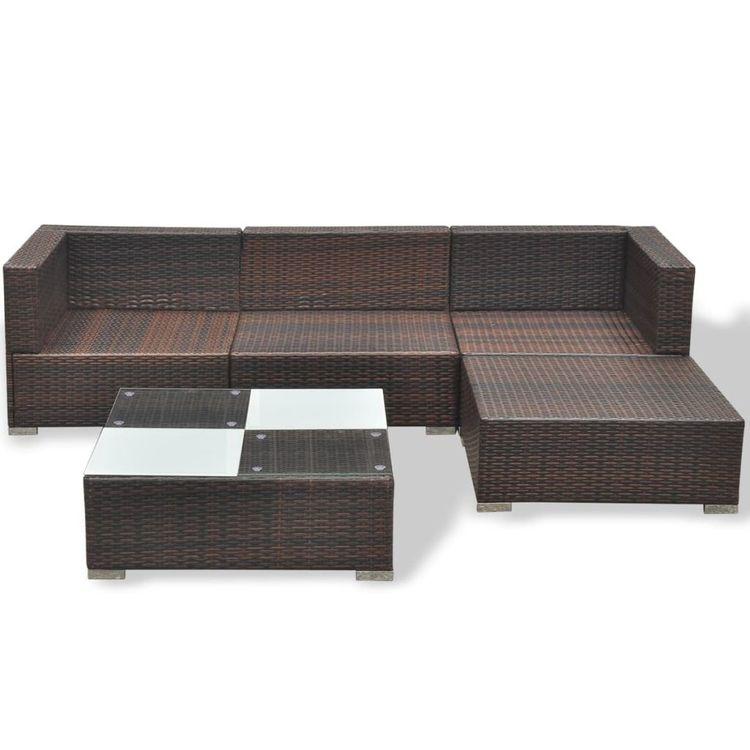 Loungegrupp med dynor 5 delar konstrotting brun
