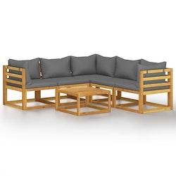 Loungegrupp för trädgården med dynor 6 delar massivt akaciaträ