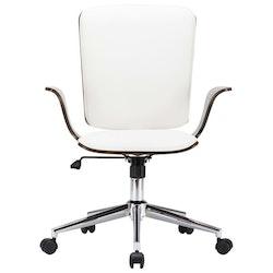 Kontorsstol snurrbar vit konstläder och böjträ