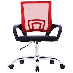 Kontorsstol med ryggstöd i nät röd tyg