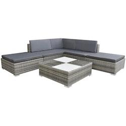 Loungegrupp för trädgården med dynor 6 delar konstrotting grå