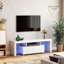Vasagle TV-Bänk Vit Med LED Belysning