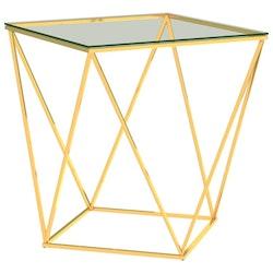 Soffbord guld och transparent 50x50x55 cm rostfritt stål