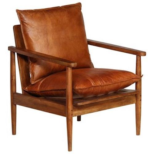 Fåtölj brun äkta läderoch akaciaträ