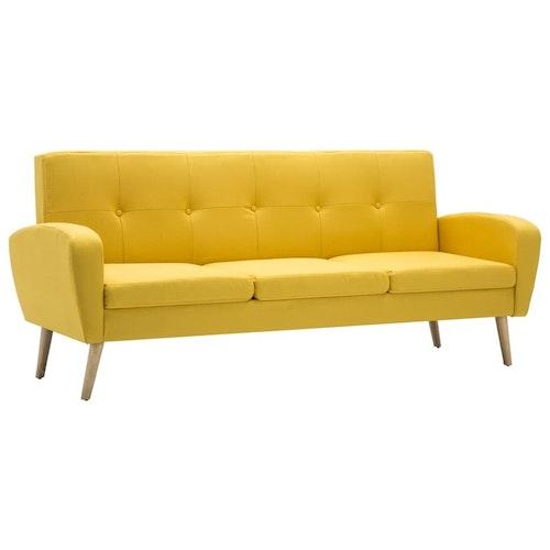 3-sitssoffa tyg gul