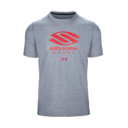 SELKIRK SPORT UA PERFORMANCE MEN'S T-SHIRT BY UNDER ARMOUR Grey w/ Red Logo