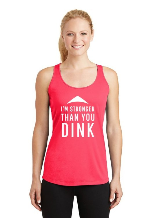 LADIES RACERBACK > I'M STRONGER THAN YOU DINK Pink