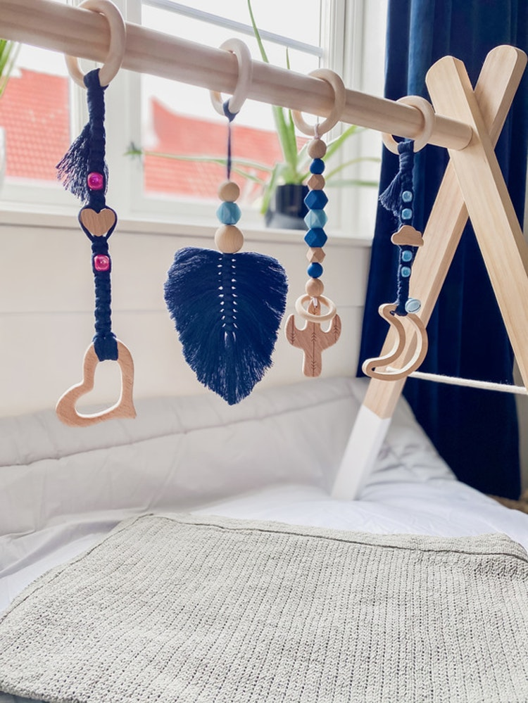 Boho babygym blue feather