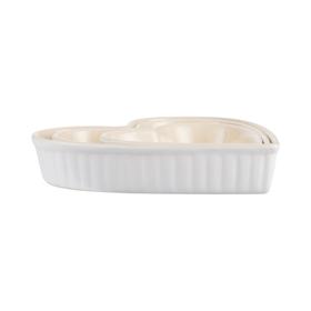 Serveringsfat/Bakformar Mynte Hjärta set 3 st Pure White