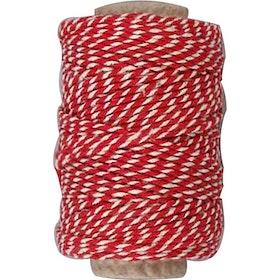 Bomullssnöre röd och vit 50m