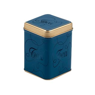 Blå teburk med guldkant