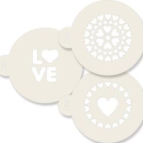 Schabloner Love med Hjärtan 3 st olika