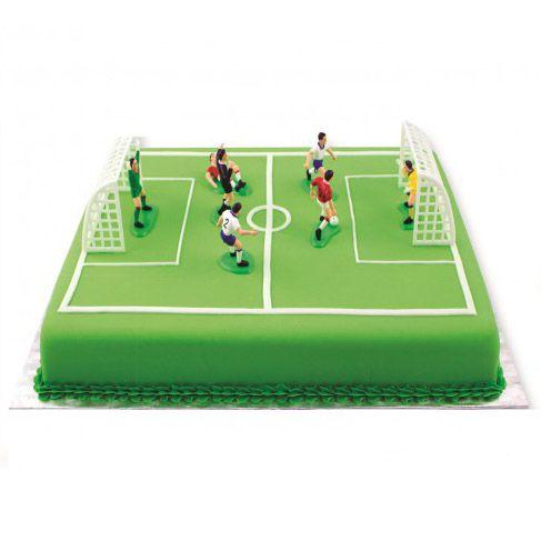Tårtdekorationer Fotbollsmål och Fotbollsspelare set 9 st