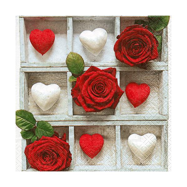 Servetter Röda Rosor och Hjärtan