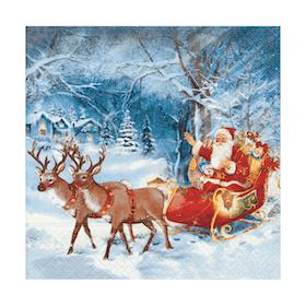 Julservetter Tomte med Släde