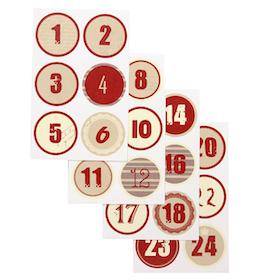 Stickers till Adventskalender Siffrorna 1-24