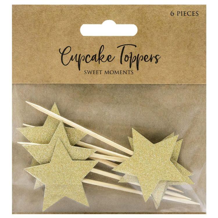 Cupcake Toppers Stjärnor Guld