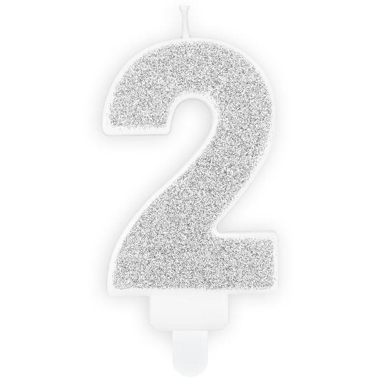 Tårtljus Siffra Silver - Siffran 2