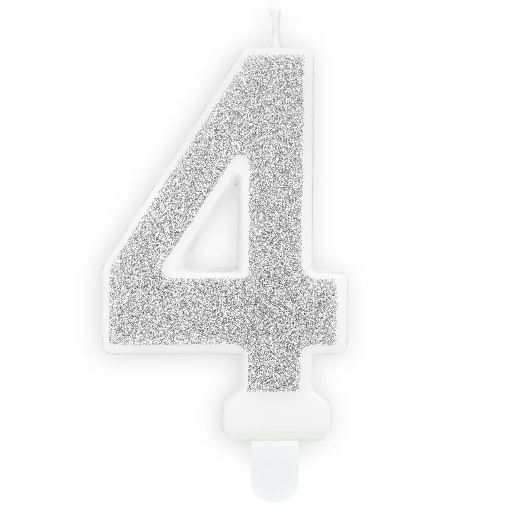Tårtljus Siffra Silver - Siffran 4