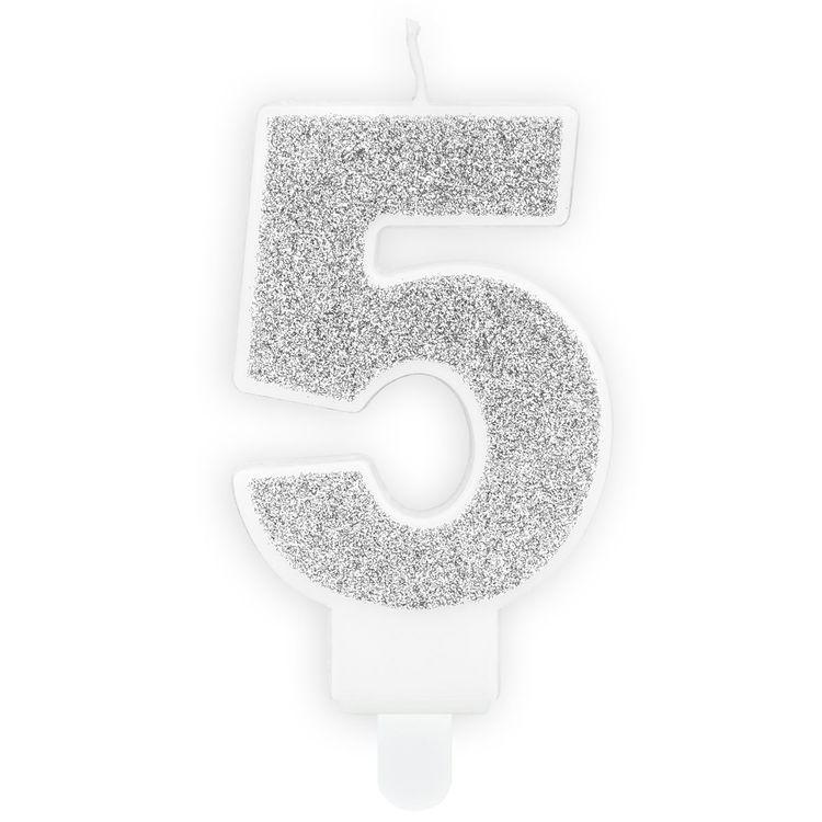 Tårtljus Siffra Silver - Siffran 5