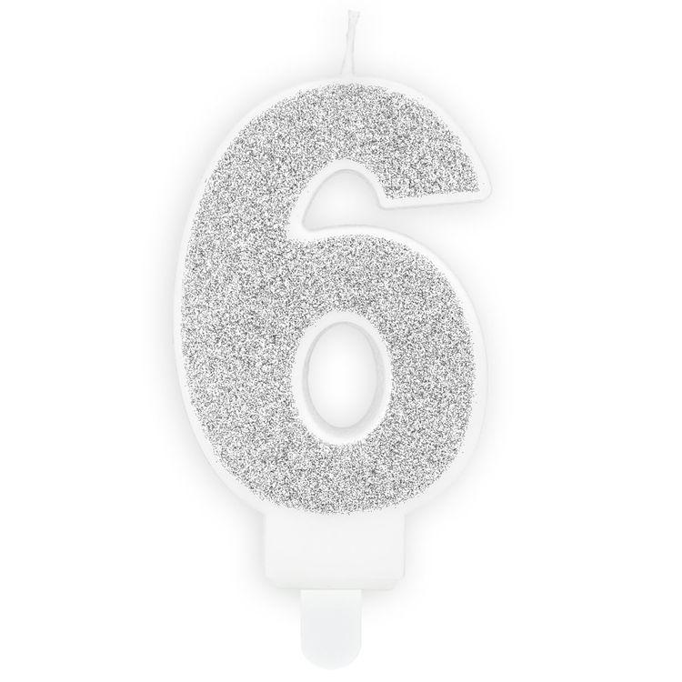 Tårtljus Siffra Silver - Siffran 6