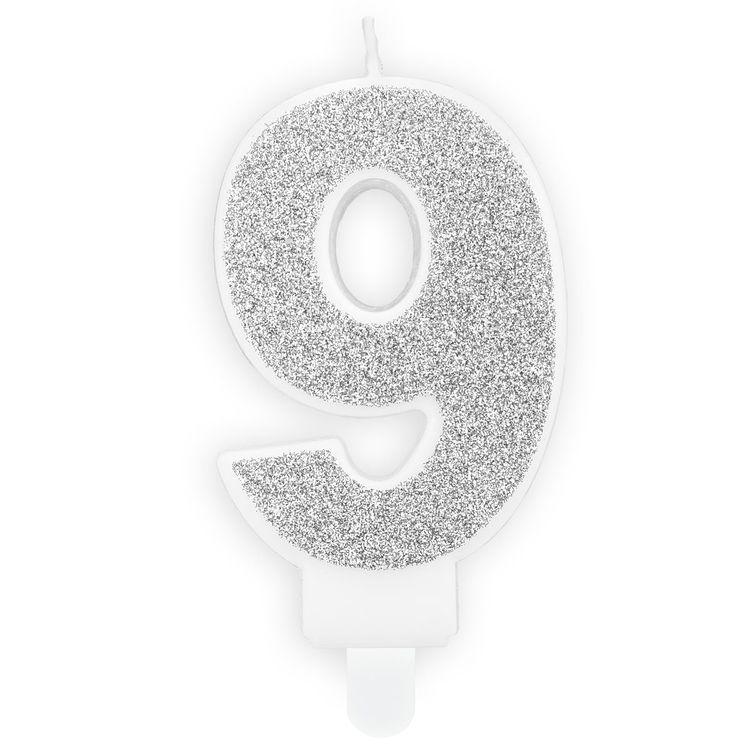 Tårtljus Siffra Silver - Siffran 9
