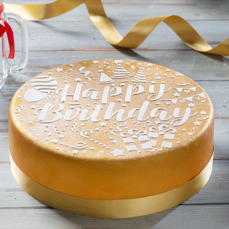 Schablon Happy Birthday 25 cm