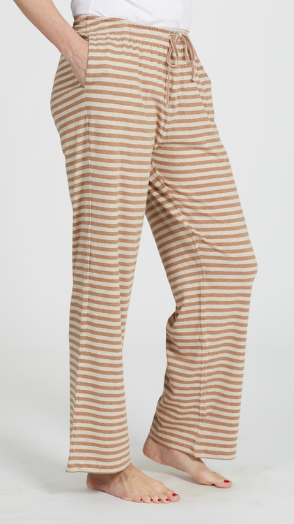 Marbäck - Pyjamasbyxa - Brun/beige rand