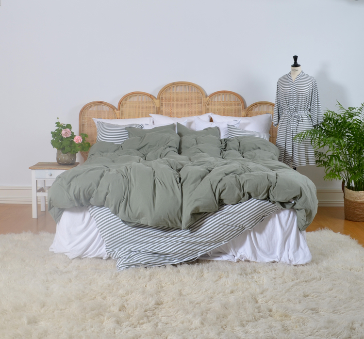 Marbäck - Kimono - Dimgrön/ vit rand