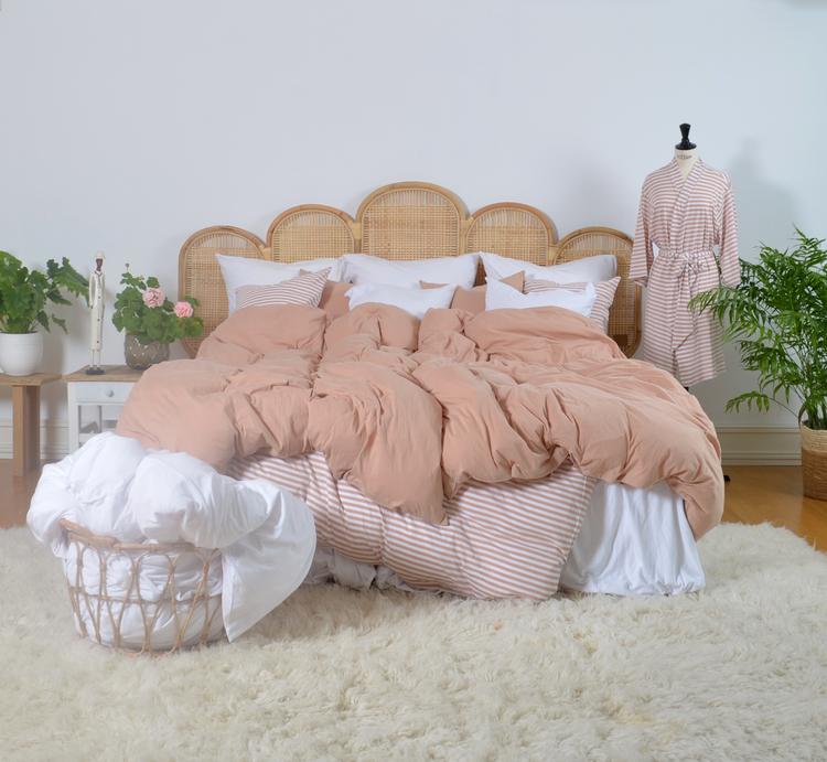 Marbäck - Kimono - Dimrosa/ vit rand