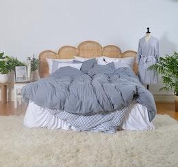 Marbäck - Kimono - Dimblå/ vit rand