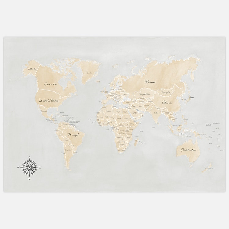 World Map beige