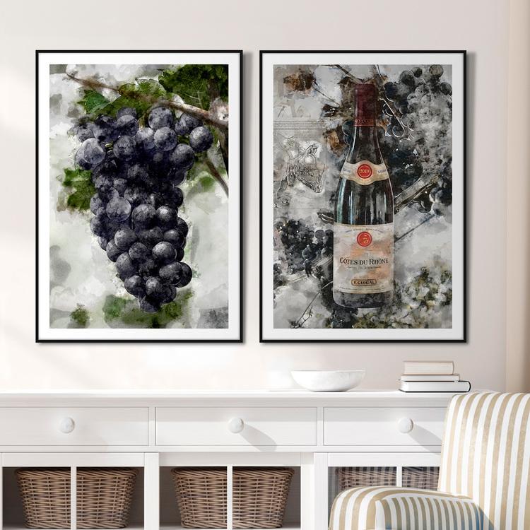 Tavelvägg Grapes & Wine