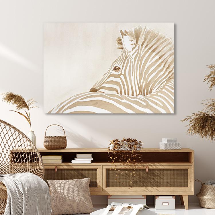 Zebra in beige on Canvas