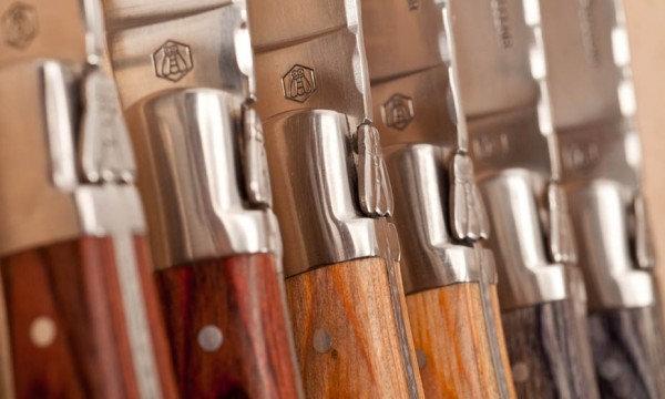 Laguiole gafflar, handtag i grått, brunt & ljust trä [40268333]