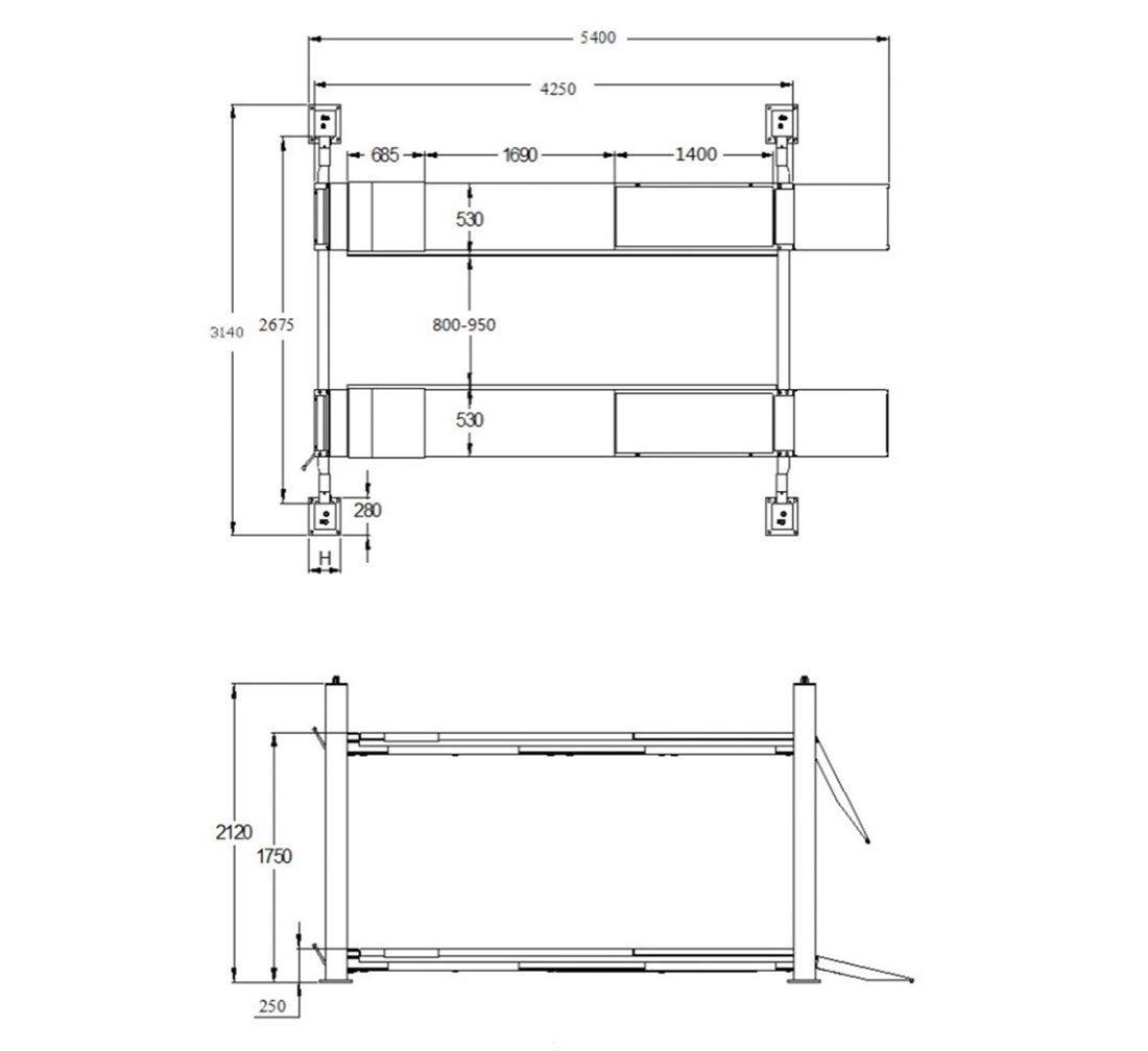 Halvautomatisk Fyrpelarlyft 4T - REDATS L-420