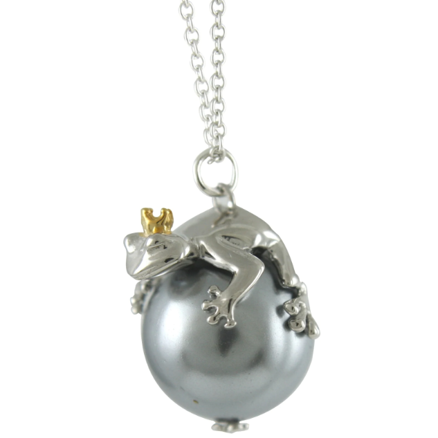 """Silverhalsband """"Prince Charming - A good kiss can work wonders"""" GREY Sphere of Life"""